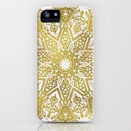 Golden Mandala on Pink Marble iPhone Case