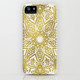 Golden Mandala on Pink Marble iPhone Case