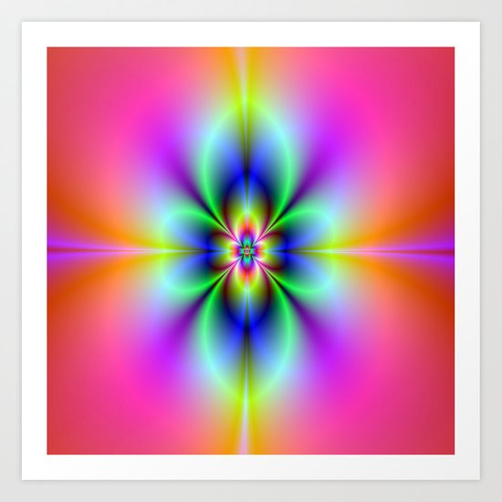 Flower in Neon Art Print