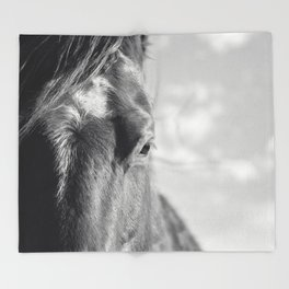 Close Up Horse Picture in Black and White Throw Blanket