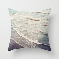 waves Throw Pillows featuring Ocean Waves Retro by Kurt Rahn
