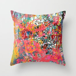 Urban Graffiti Abstract Sprayed Wall Art  Throw Pillow