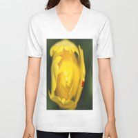 tulip V-neck T-shirts featuring Tulip by Dora Birgis