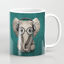 Cute Baby Elephant Dj Wearing Headphones and Glasses on Blue Coffee Mug