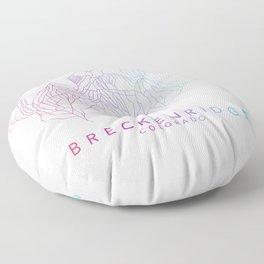 BRECKENRIDGE // Colorado Trail Map Rainbow Color Runs Minimalist Ski & Snowboard Illustration Floor Pillow