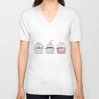 cupcakes V-neck T-shirts featuring Cupcakes by Martina