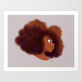 Afro Profile Art Print