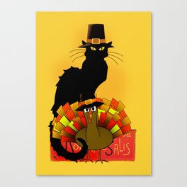 Thanksgiving Le Chat Noir With Turkey Pilgrim Canvas Print