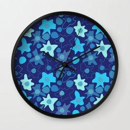 Abstract blue spots splatters  Wall Clock