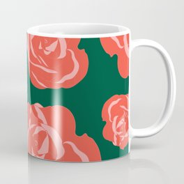 Dusty Rosy Roses and Pinks on Green Coffee Mug