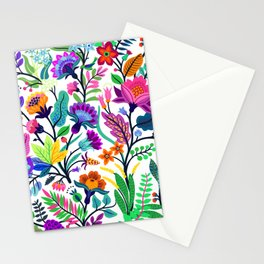 floral pattern with bright colorful flowers and tropic leaves on a white background. Modern floral background. Trendy Folk style. Stationery Cards