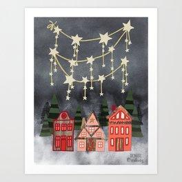 Holiday Hygge Village Art Print