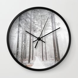 Mysterious road in a frozen foggy forest Wall Clock
