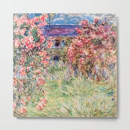 "Claude Monet ""House among the Roses"", 1917 - 1919 Metal Print"