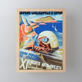 San Sebastian Spanish Grand Prix 1935 - Vintage Poster Framed Mini Art Print