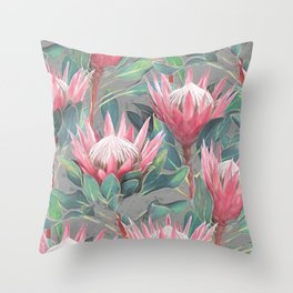 Pink Painted King Proteas on grey Throw Pillow
