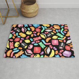 Rainbow Diet - a colorful assortment of hand-drawn candy on black Rug