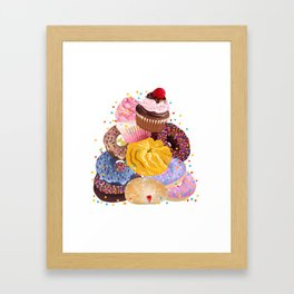 Pile of Donuts, Cupcakes Framed Art Print