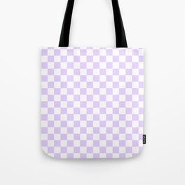 Large Chalky Pale Lilac Pastel Color and White Checkerboard Tote Bag