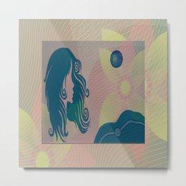 She Moon Metal Print