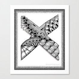 Zentangle X Monogram Alphabet Initial Canvas Print