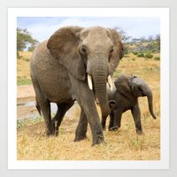 elephants Art Prints featuring Elephants by go.designg