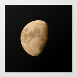 4K Dark Side of the Moon Golden Yellow Canvas Print