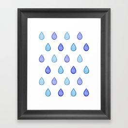 Blue raindrops Framed Art Print