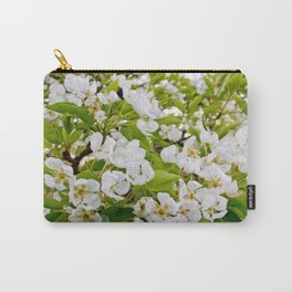 Blooming pear tree close up, branch of pear tree with flowers on spring Carry-All Pouch