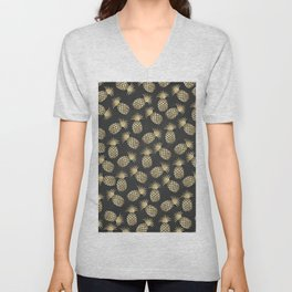 Modern chalk black elegant faux gold pineapple pattern Unisex V-Neck