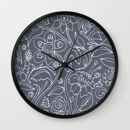 Garden Floral Drawing on Grey Wall Clock