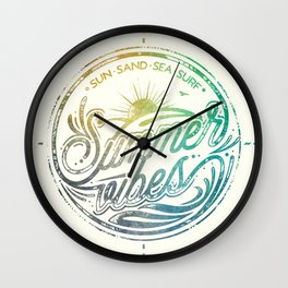 Summer vibes - typo artwork Wall Clock