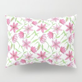 Watercolor sketched lily flowers seamless pattern Pillow Sham