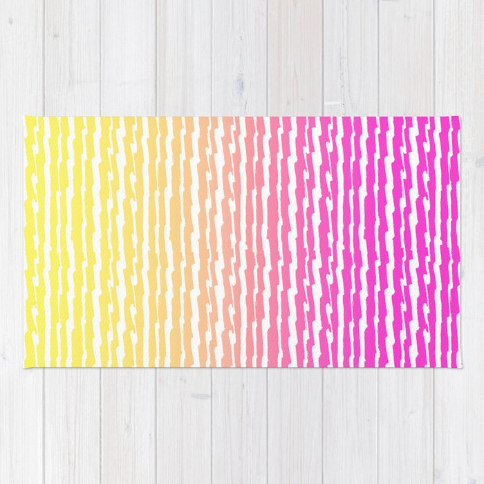 Neon Pink Yellow Ombre Abstract Stripes Pattern Rug By