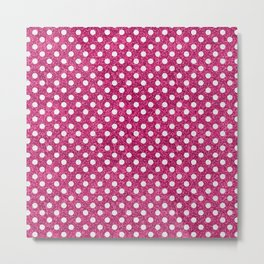 Modern abstract magenta white faux glitter polka dots Metal Print