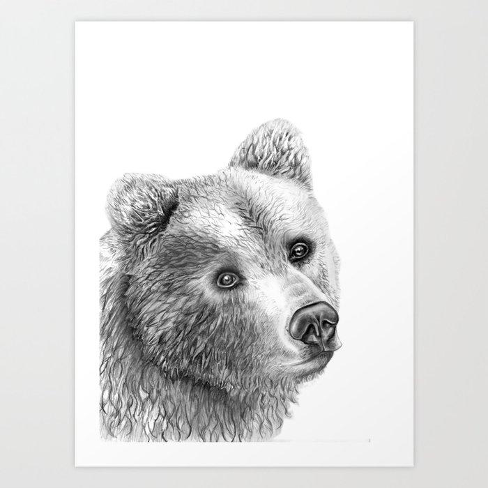 Shaggy Grizzly Bear Art Print By Bgoodwinillustrator