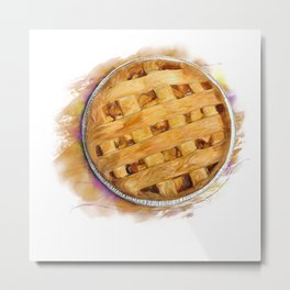Digital Painting of  Apple Pie , top view Metal Print