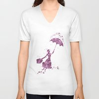 mary poppins V-neck T-shirts featuring Mary Poppins Disneys by Carma Zoe