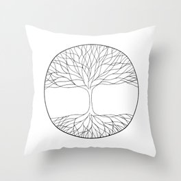 black and white minimalist tree of life line drawing Throw Pillow