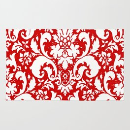 Paisley Damask Red and White Pattern Rug