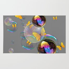 SURREAL YELLOW BUTTERFLIES & SOAP BUBBLES Rug