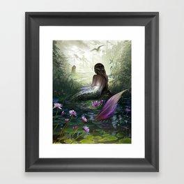 Little mermaid - Lonley siren watching kissing couple Framed Art Print
