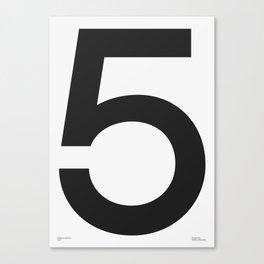 No. 5 — White Canvas Print