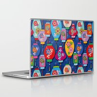 lantern Laptop & iPad Skins featuring Chinese lantern by Helene Michau