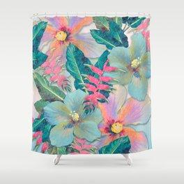 Aqua Ginger Alohas Shower Curtain