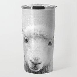 Sheep - Black & White Travel Mug