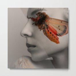 Girl with a moth Metal Print