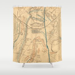 Vintage Map of The Gettysburg Battlefield (1864) Shower Curtain