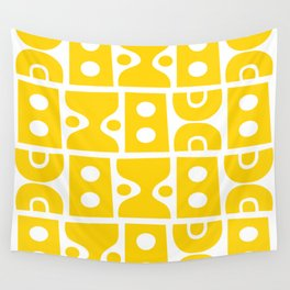 Mid Century Modern Abstract Composition 614 Yellow Wall Tapestry
