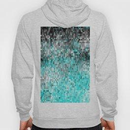 Aqua Gray Pixels Hoody